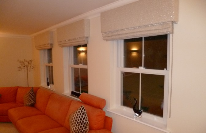Sparkly Roman Blinds with Embellished Pelmet