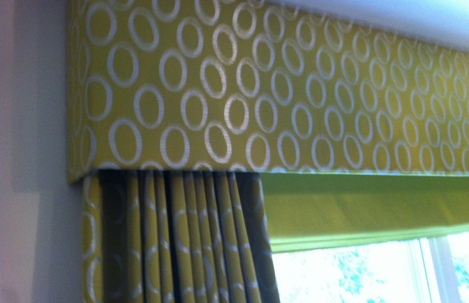 Curtains and pelmet with contrast roman blind
