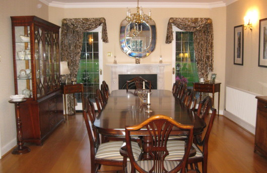 Formal dining room with casual swags